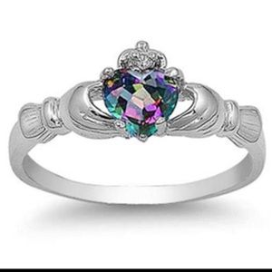 Sterling silver 925 heart claddagh ring rainbow cz